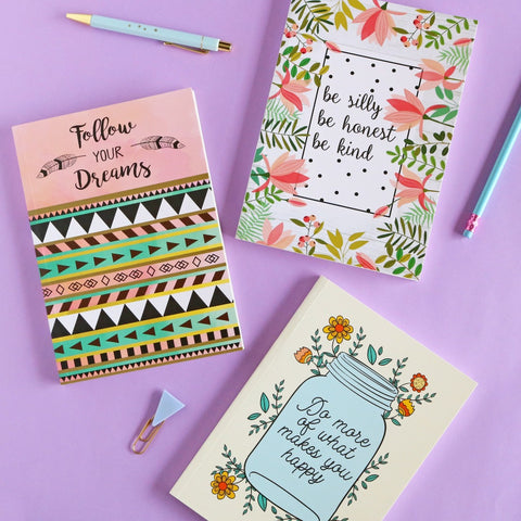 Set of 3 Notebooks - Do More, Be Silly & Follow Your Dreams