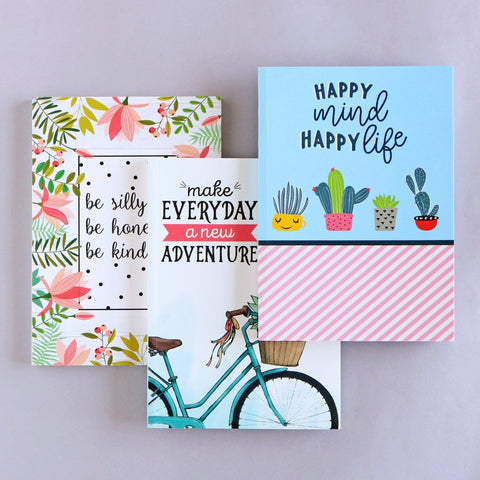 Set of 3 Notebooks - Be Silly, Adventure & Happy Mind