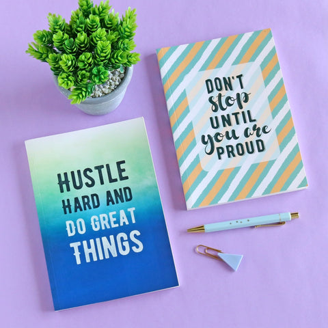 Set of 2 Notebooks - Don't Stop & Hustle Hard