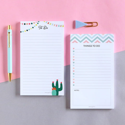 Set of 2 Notepads - Things To Do & Cactus To Do
