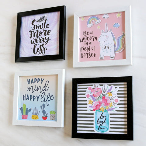 Set of 4 Art Frames - Keep Smiling