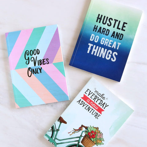 Set of 3 Notebooks - Good Vibes, Adventure & Hustle Hard