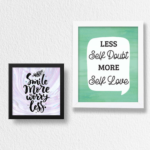 Set of 2 Art Frames - Less Self Doubt & Smile More