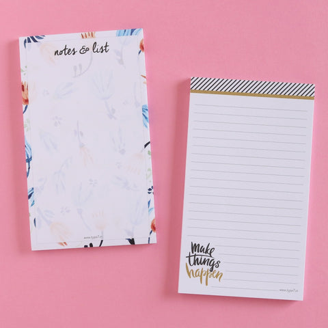 Set of 2 Notepads - Make Things Happen & Notes & List