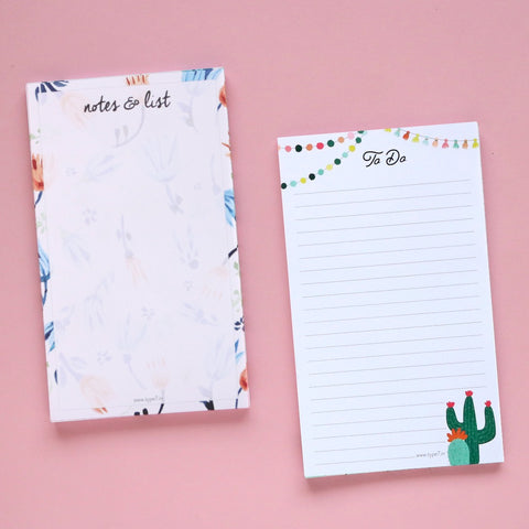 Set of 2 Notepads - Notes & List & Cactus To Do
