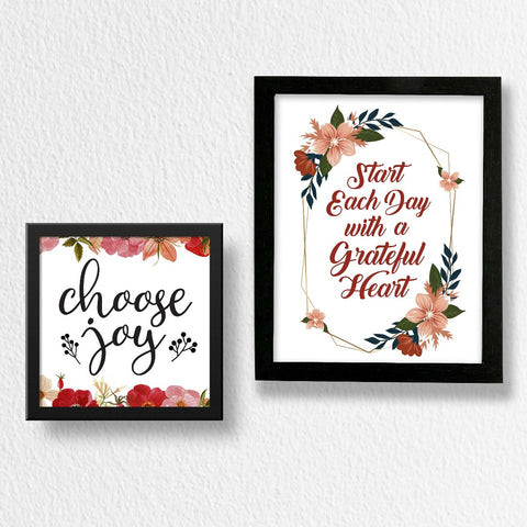 Set of 2 Art Frames - Start Each Day & Choose Joy