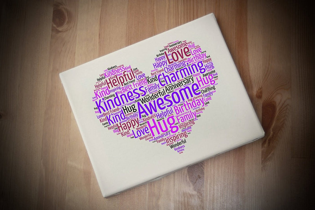 Personalised Love Heart A4 Canvas Print Word Art Gift Mothers Day, Teacher,  etc