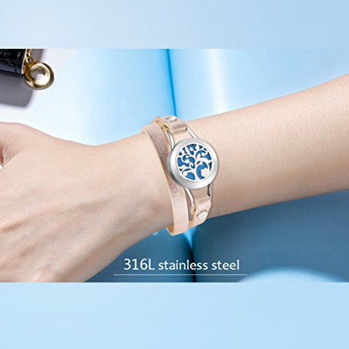 Essential Oil Diffuser Bracelet, Stainless Steel Aromatherapy Locket Bracelets Leather Band