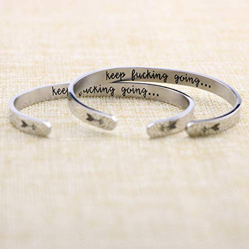 Inspirational Cuff Bracelet Stainless Steel Engraved