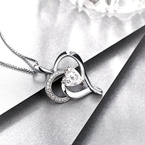 "Heart-Shape Sterling Silver Pendant 18"" Silver Box Chain Necklace"