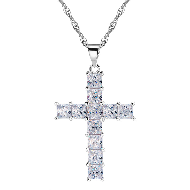 Luxury Cross Pendant Necklace made of 11 Princess Cut Cubic Zircon