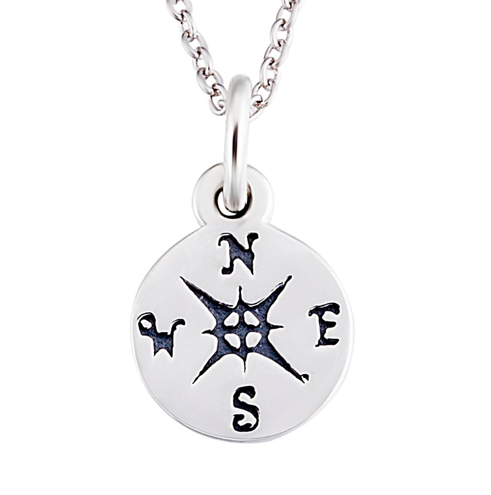 in white tw compass gold necklace diamond