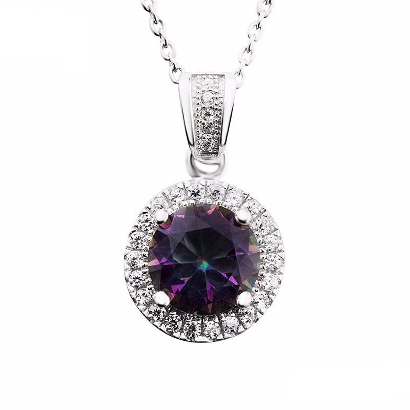 High-polish Sterling Silver and Round-cut Cubic Zirconia Necklace