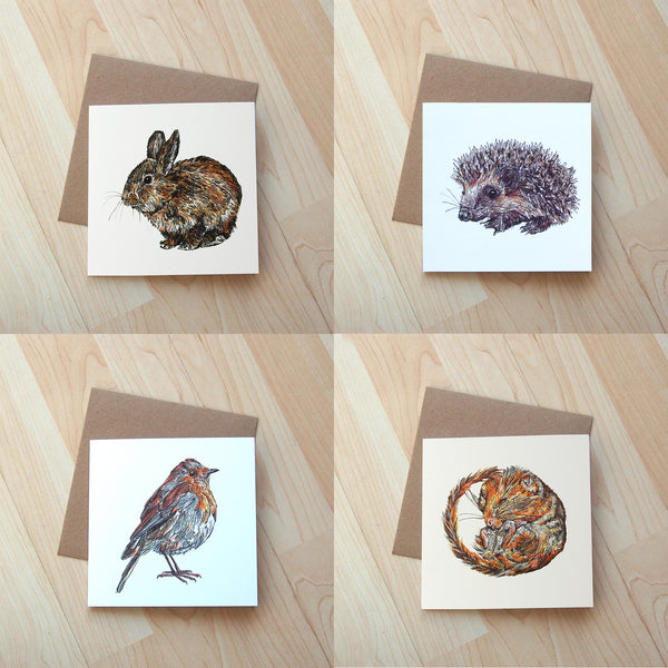 4 Pack of wildlife illustration greetings cards printed onto eco friendly card