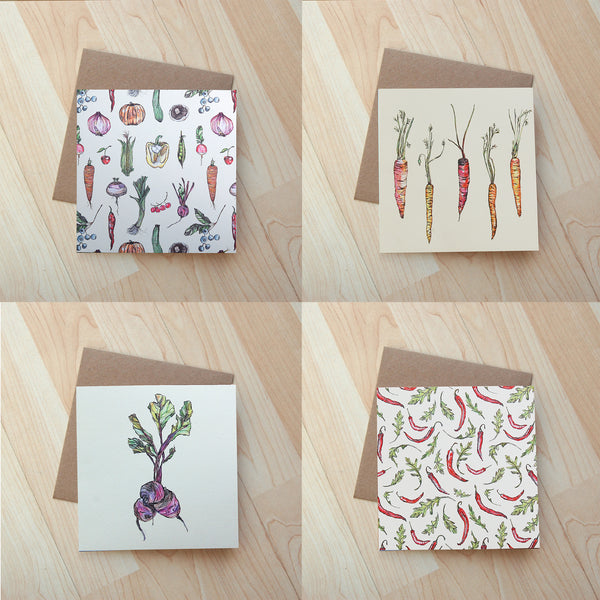 4 Pack Vegetable cards
