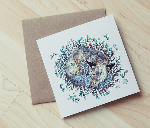 Sleeping Fox Christmas Card
