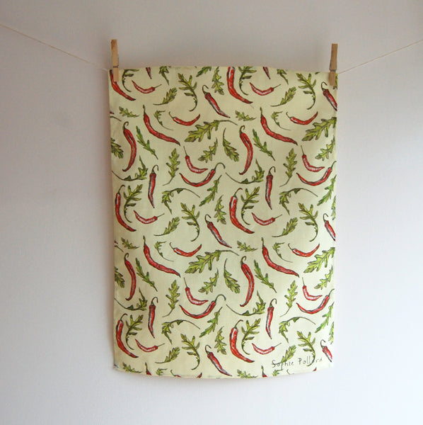 Chilli and Rocket Tea Towel