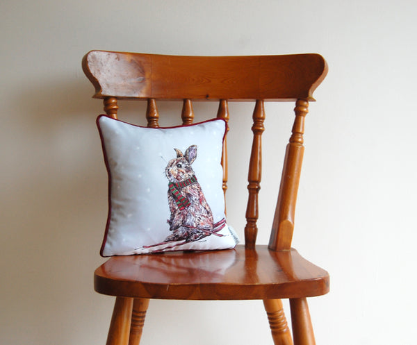 Skiing Rabbit Cushion