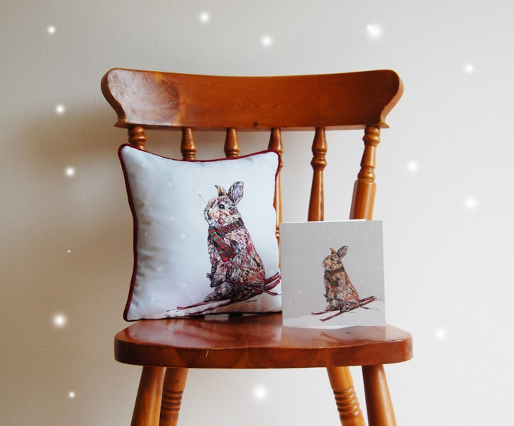Skiing Rabbit Cushion and card