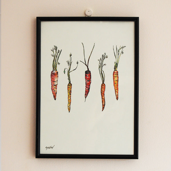 Rainbow Carrots Illustration A4 Print