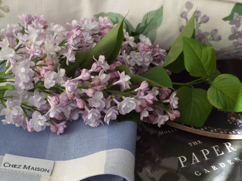 Chez Maison Table Napkin in Lavender 'Buffalo Check' with Lilacs from the Courtyard