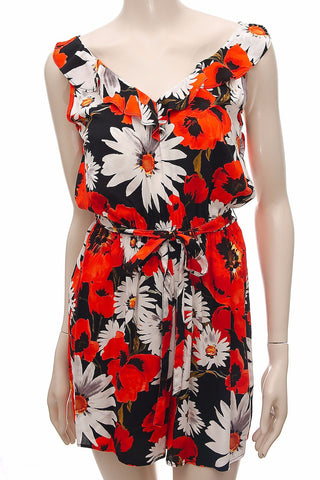 Black Daisy Print Playsuit , , Playsuit, Ex F*F Frave Classics
