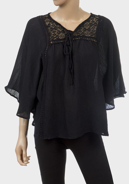 Black Oversize Batwing Top with Lace Detail , , Tops & Shirts, No Boundaries Frave Classics