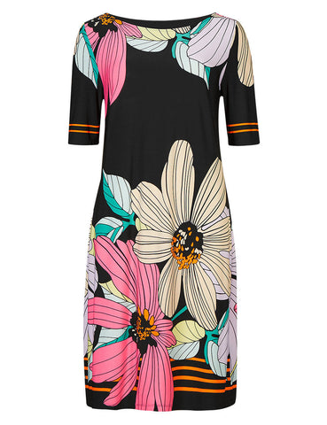 Black Floral Tunic Dress - Frave Classics
