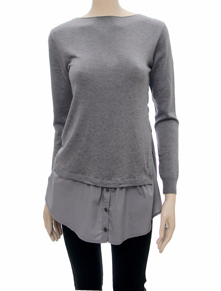 Grey Fine Knit Layered Jumper - Frave Classics - 1