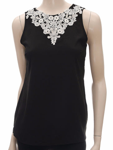 Black Floral Embroidered Sleeveless Chiffon Top - Size 10 , , Tops & Shirts, Blue Chameleon Frave Classics