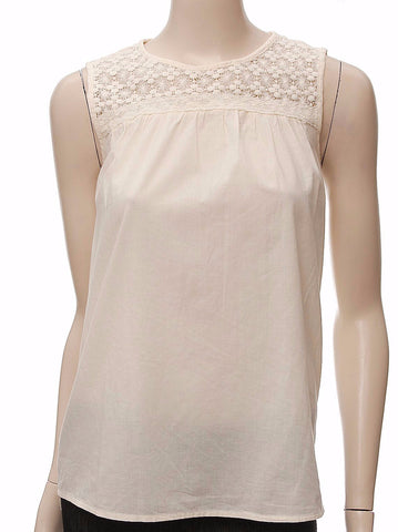 Pure Cotton Lace Yoke Vest Top in Ivory - Frave Classics