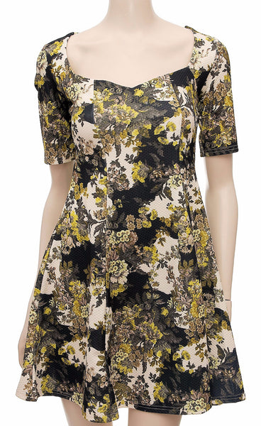 Black Floral Skater Dress with Short Sleeves , , Dresses, Ex High Street Frave Classics