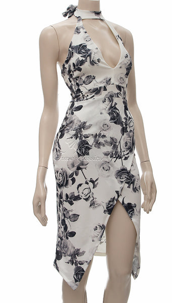 Ivory Floral Print V-Neck Cut Out Midi Dress - Frave Classics - 2