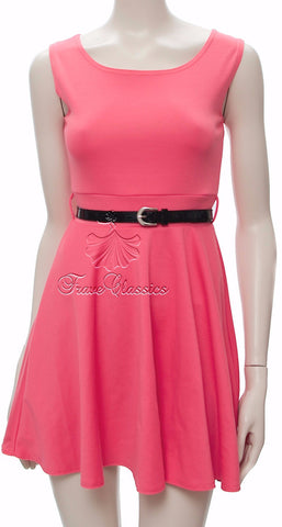 Watermelon Pink Flared Skater Dress - Frave Classics - 1
