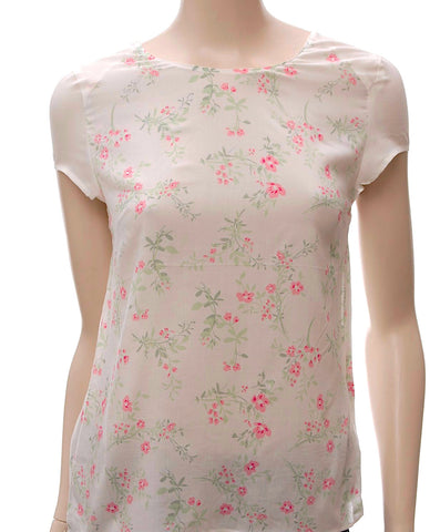 Light Floral Print Top in Ivory - Frave Classics