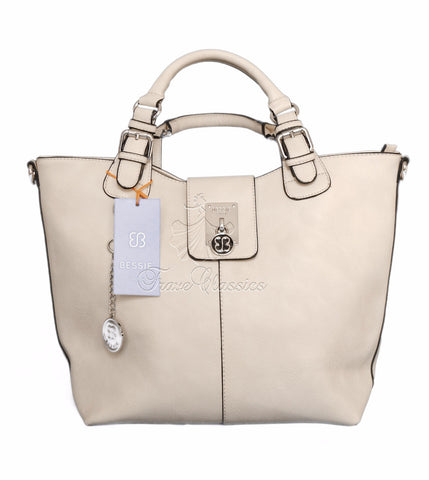 Bessie London Beige Twin Handle Bag BW2614 - Frave Classics - 1