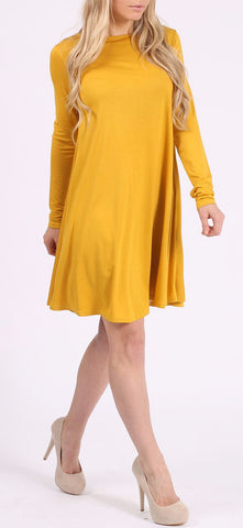 Mustard Plain Swing Dress With Long Sleeves - Frave Classics - 1