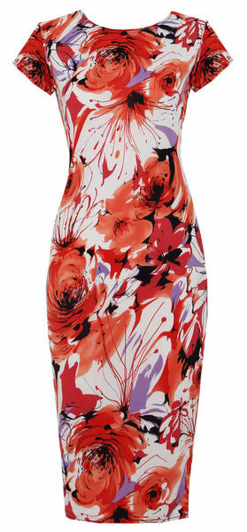 Orange Floral Print  Midi Stretch Dress - Frave Classics - 1