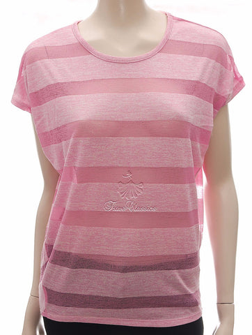 Pink Sheer Mesh Striped Oversize Top ,  Frave Classics