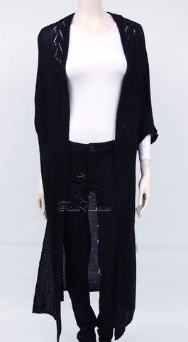 Side Split Black Maxi Cardigan - Frave Classics - 1