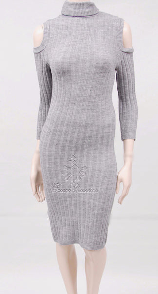 Cold Shoulder Knitted Dress in Grey - Frave Classics - 1