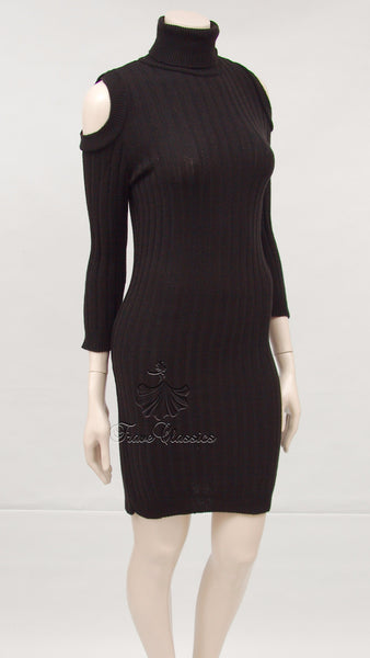 Cold Shoulder Knitted Dress in Black - Frave Classics - 1