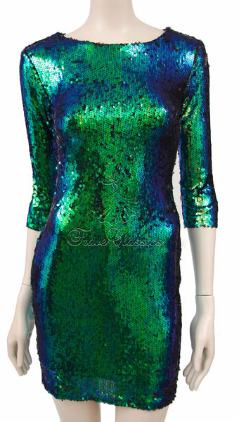 Emerald Green Two Tone Sequin Dress - Frave Classics - 8