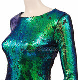 Emerald Green Two Tone Sequin Dress - Frave Classics - 6