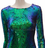 Emerald Green Two Tone Sequin Dress - Frave Classics - 7