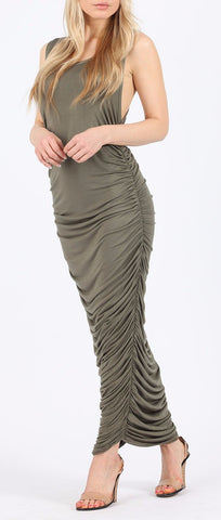 Ruched Khaki Maxi Dress - Frave Classics