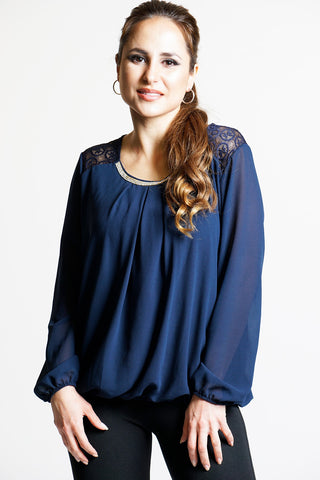 Navy Sheer Embellished Top - Frave Classics
