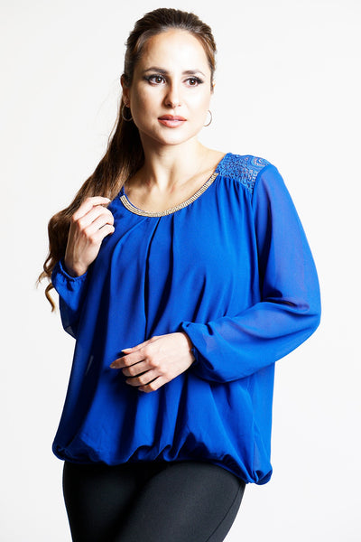 Royal Blue Sheer Embellished Top - Frave Classics