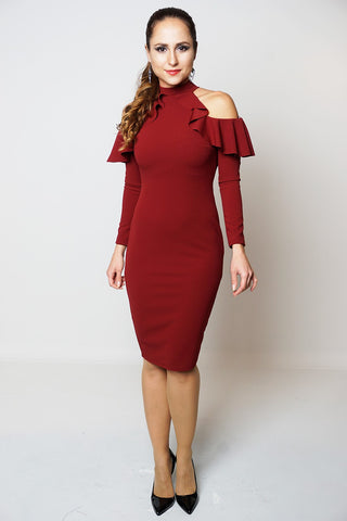 Frill Cold Shoulder Long Sleeve Midi Dress in Wine - Frave Classics - 1
