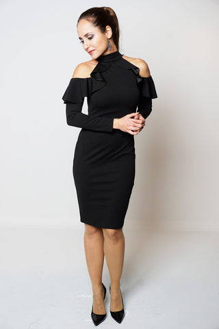 Frill Cold Shoulder Long Sleeve Midi Dress in Black -Frave Classics - 1